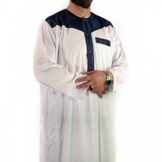 Qamis blanc bleu